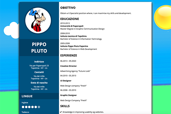 Example of Curriculum vitae with Html5 and Css